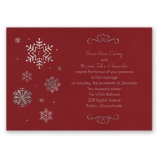 Falling Snowflakes Foil Wedding Invitation - Merlot