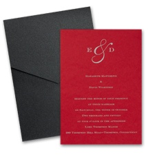 Merlot Wedding Invitation Card with Pocket