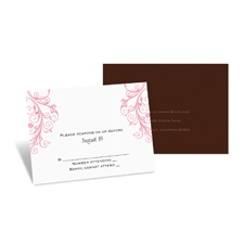 Layered Filigree Monogram Response Card and Envelope - Salmon