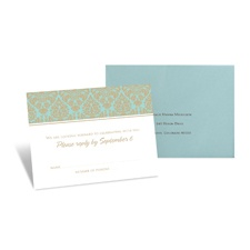 Damask Border Response Card and Envelope - Champagne