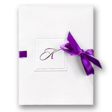 Beribboned Monogram Wedding Invitation