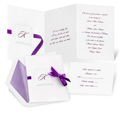 Monogram Wedding Invitations on Modern Wedding Invitations    Beribboned Monogram Wedding Invitation