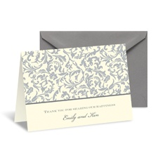 Vintage Damask Note Card and Envelope - Stainless