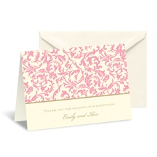 Vintage Damask Note Card and Envelope - Salmon