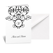 Vine Monogram Note Card and Envelope - White