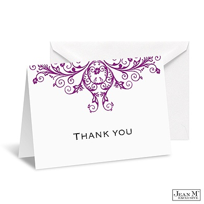 Layered Filigree Monogram Note Card and Envelope - Amethyst
