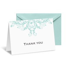 Layered Filigree Monogram Note Card and Envelope - Aqua