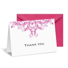 Layered Filigree Monogram Note Card and Envelope - Fuchsia