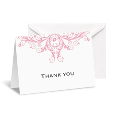 Layered Filigree Monogram Note Card and Envelope - Salmon