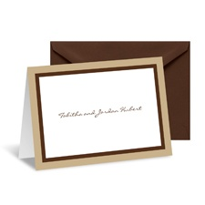 Bold Double Border Note Card and Envelope - Champagne