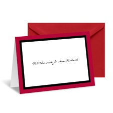 Bold Double Border Note Card and Envelope - Merlot