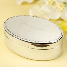 Silver Oval Jewelry Box