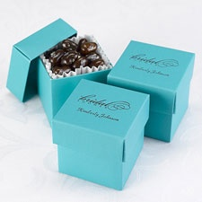 Teal Lidded Favor Boxes