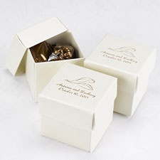 Ivory Shimmer Lidded Favor Boxes