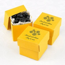 Yellow Lidded Favor Boxes