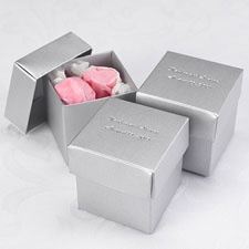 Silver Shimmer Lidded Favor Boxes