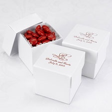 White Shimmer Lidded Favor Boxes