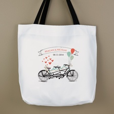 Tandem Bicycle Personalized Tote Bag