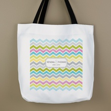 Pastel Chevron Personalized Tote Bag