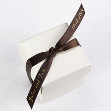 Personalized Mocha Satin Favor Ribbon