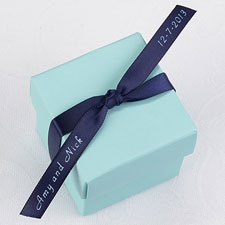 Personalized Navy Satin Favor Ribbon