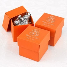 Orange Lidded Favor Boxes