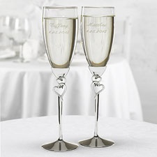 Two Hearts Toasting Flutes