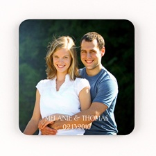 Portrait Personalized Square Photo Coaster Set