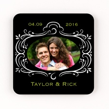Chalkboard Filigree Personalized Square Photo Coaster Set