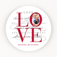 Love Letters Personalized Round Photo Coaster Set