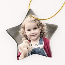 Personalized Porcelain Photo Ornament - Star