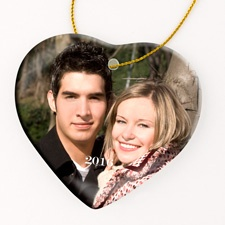 Personalized Porcelain Photo Ornament - Heart
