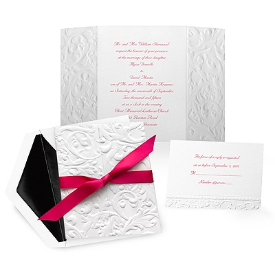 Embossed Damask Wedding Invitation - White