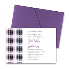 Dotted Stripes Wedding Invitation with Pocket - Orchid