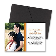 Bold Double Border Photo Wedding Invitation with Pocket