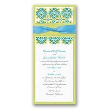 Mosaic Floral Layered Wedding Invitation