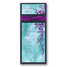 Beautiful Bouquet Layered Wedding Invitation - Aqua/Grapevine