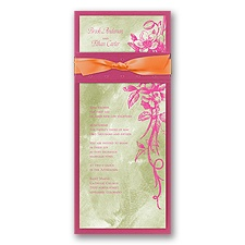 Beautiful Bouquet Layered Wedding Invitation - Fuchsia/Margarita