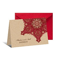 Paisley Star Note Card and Envelope - Merlot
