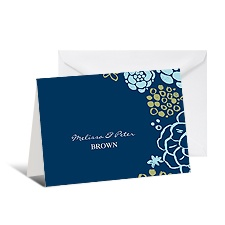 Rustic Flowers Note Card and Envelope - Sea