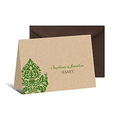 Rustic Damask Note Card and Envelope