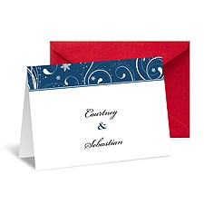 Snowflake Flourishes Note Card and Envelope - Midnight