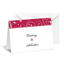 Snowflake Flourishes Note Card and Envelope - Merlot
