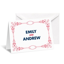 Classic Type Note Card and Envelope - Cherry