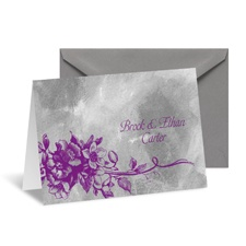 Beautiful Bouquet Note Card and Envelope - Grapevine/Pewter