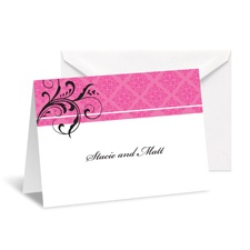 Fine Flourishes Note Card and Envelope - Fuchsia