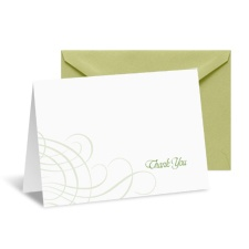 Swirling Filigree Note Card and Envelope - Cloverleaf