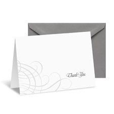 Swirling Filigree Note Card and Envelope - Black