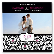 Chic Damask Photo Marriage Announcement