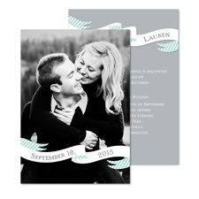 Ribbon Banner Photo Wedding Invitation